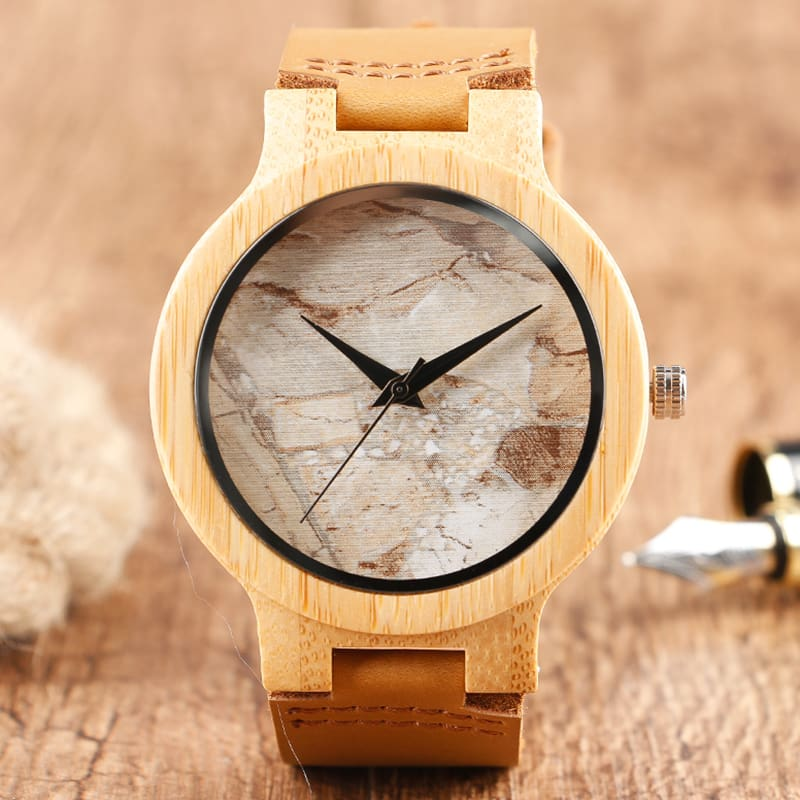 2017 Creative Gifts Handmade Unique Cloud Marble Face Bamboo Quartz Wristwatch Genuine Leather Bangle Nature Wood Men Women Clock (20)