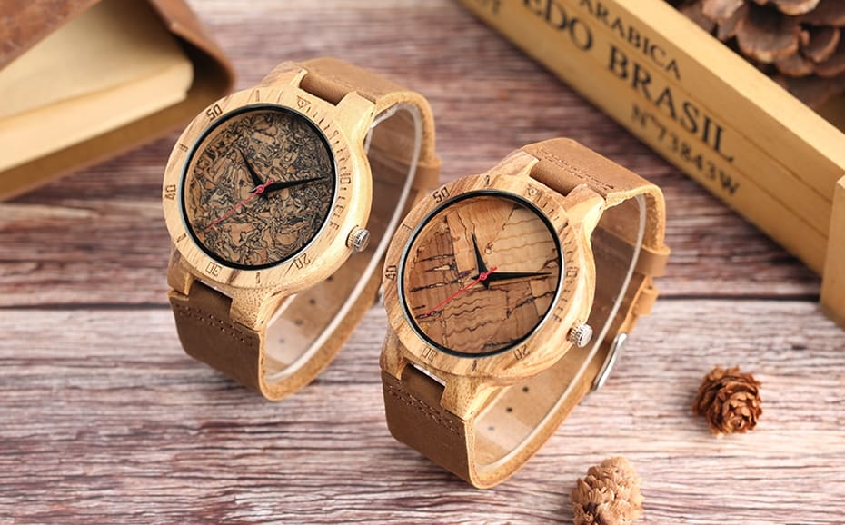 Wooden Watch Men's Unique Cork SlagBroken Leaves Face Dial Zebra Wood Quartz Clock Male Women Genuine Leather Band Wristwatches 2017 Christmas Gifts (24)