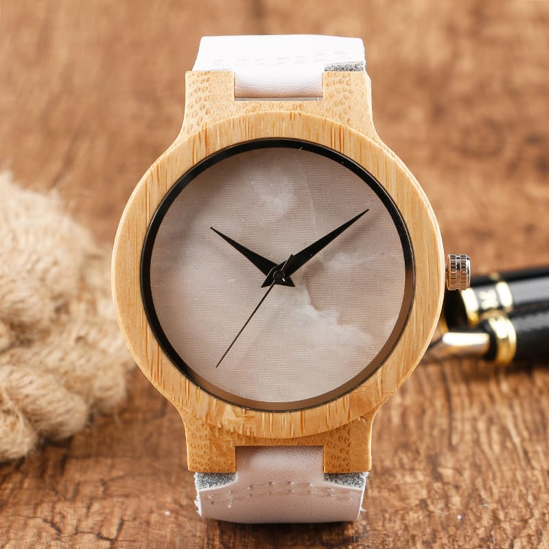 2017 Creative Gifts Handmade Unique Cloud Marble Face Bamboo Quartz Wristwatch Genuine Leather Bangle Nature Wood Men Women Clock (32)