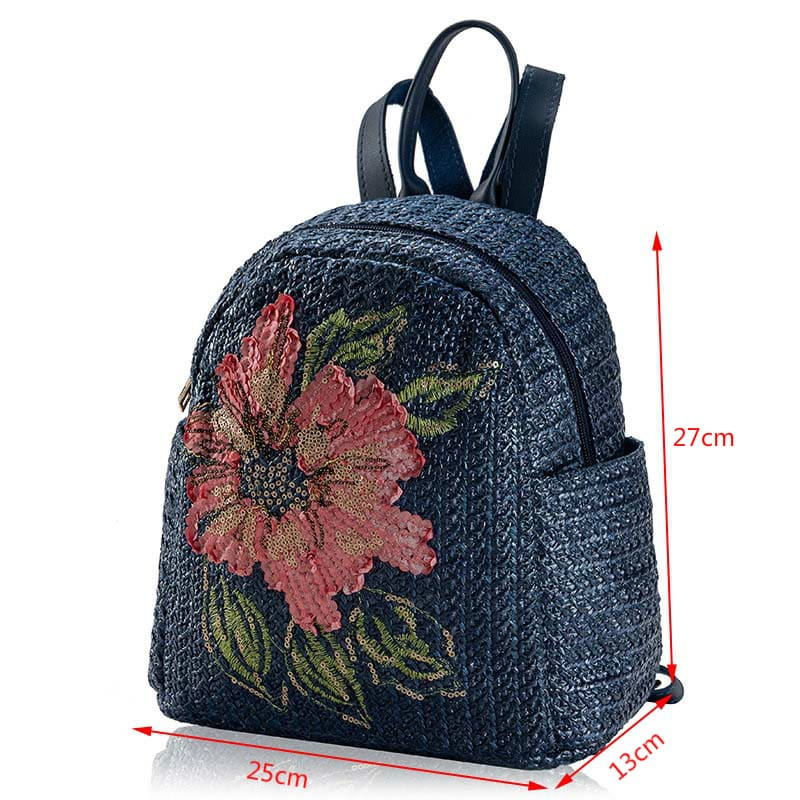 Floral Straw Backpack for Women Rattan Flower Printing School Bags Travel Backpack Female Schoolbag Summer Lady Girls Mochila