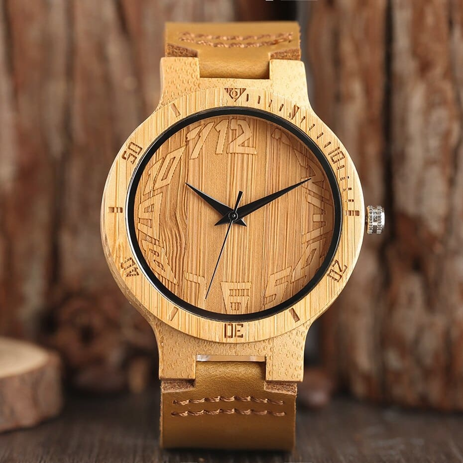 Top Minimalist Natural Bamboo Wood Watch Male Handmade Simple Mens Sports Quartz Wristwatch Arabic Numbers reloj de hombre 2018 (2)