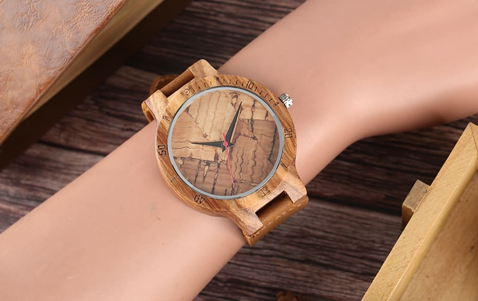 Wooden Watch Men's Unique Cork SlagBroken Leaves Face Dial Zebra Wood Quartz Clock Male Women Genuine Leather Band Wristwatches 2017 Christmas Gifts (26)