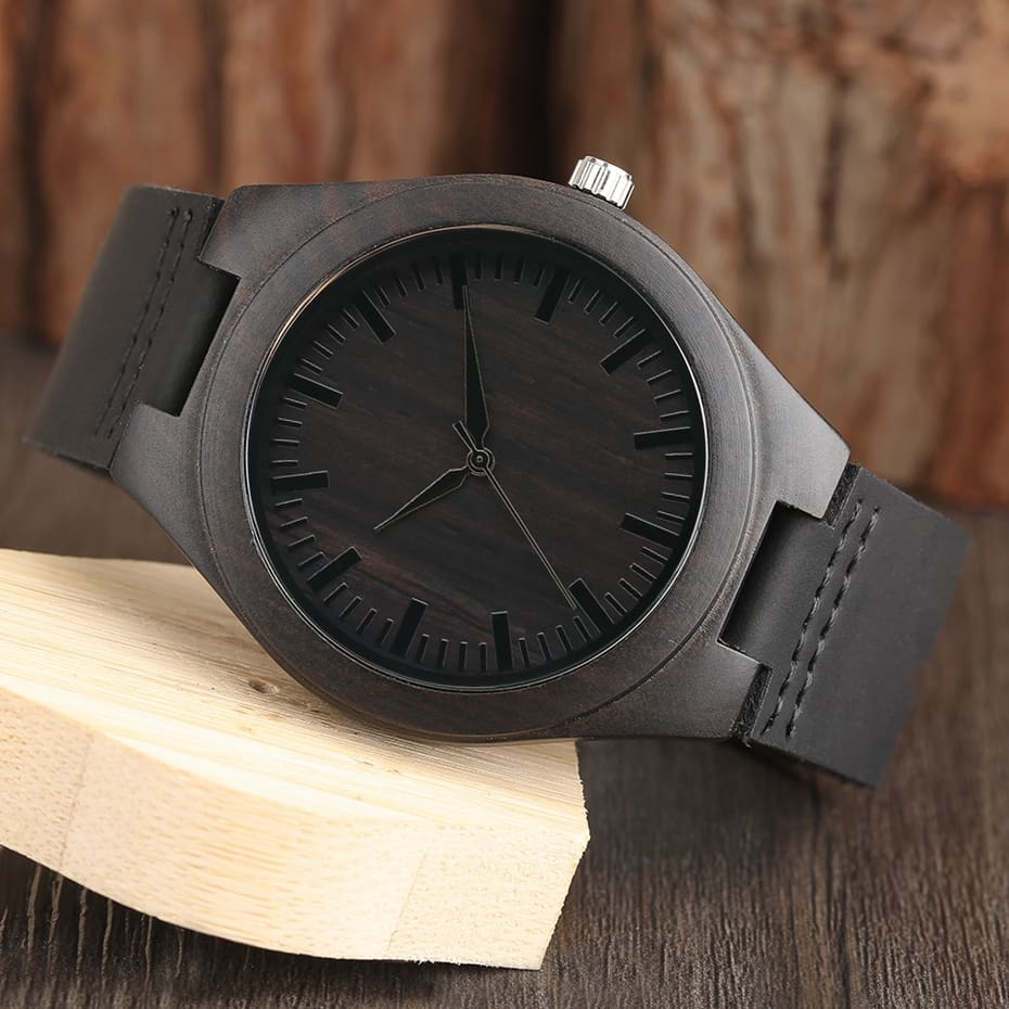 Unique Full Black Men's Ebony Wood Watch Luxury Gifts Light Bamboo Analog Quartz Wristwatch with Genuine Leather Reloj de madera 2017 2018 Christmas Gifts for Men (9)