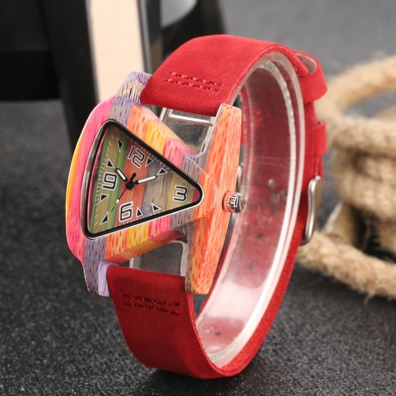 Unique Colorful Wood Watch Creative Triangle Shape Dial Hour Clock Women Quartz Leather Bracelet Watch Women's Wrist Reloj Mujer (41)