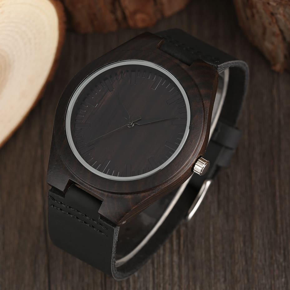 Unique Full Black Men's Ebony Wood Watch Luxury Gifts Light Bamboo Analog Quartz Wristwatch with Genuine Leather Reloj de madera 2017 2018 Christmas Gifts for Men (8)
