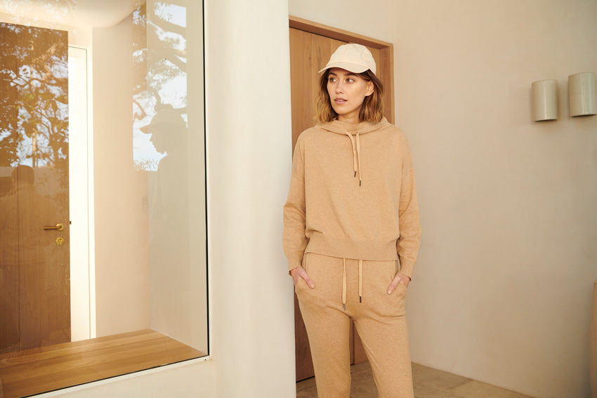 The Nucleus Drawstring Knit and Nucleus Drawstring Pants in Camel.