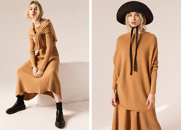 Hollie wears the Maple Knit Dress (L) the Maple Tunic Knit (R).