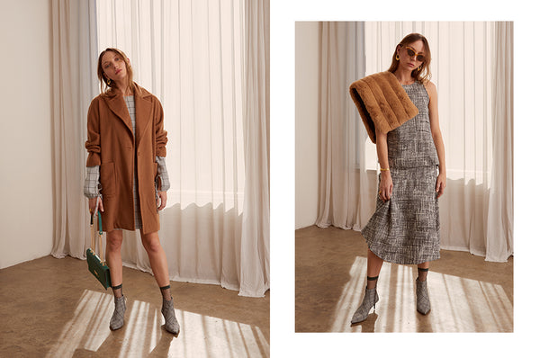 Cinder Coat with the Grid Shift Dress, the Zinc Asymmetric Tank and Skirt - POL AW19 Collection