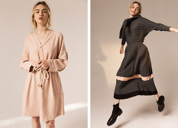 Hollie wears the Juniper Dress (L) Maple Ribbed Top and the Maple Pleated Knit Skirt (R).