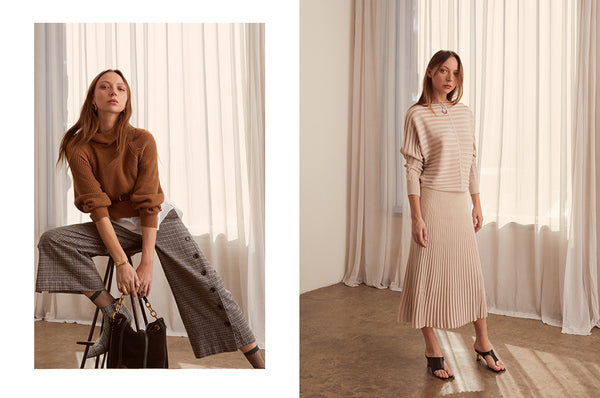 Cove Layered Knit with the Check Button Pant, Atrium Ribbed Top and Skirt