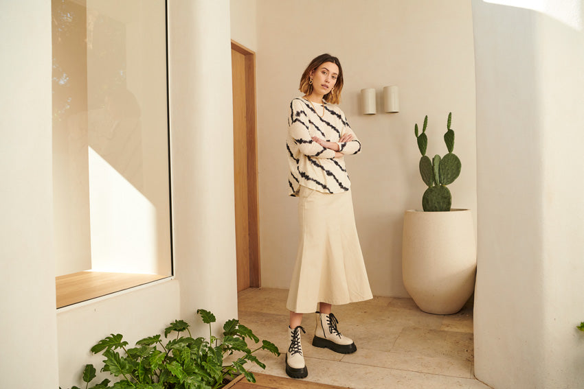 The Fission Tie Dye Tee and the Base Split Skirt in Natural.