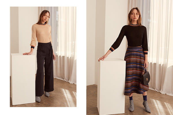 Atrium Knits in Camel and Black and the Cygnet Skirt - POL AW19 Collection