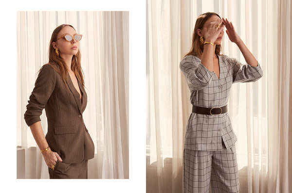 Marsh Pinstriped Jacket, Grid Tie Jacket and Pant - POL Clothing AW19