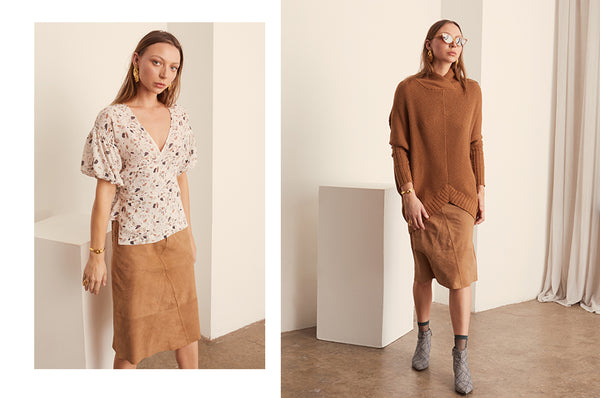 Terrazzo Wrap Top and Suede Skirt, Cove Drape Knit and Suede Skirt - POL Clothing AW19