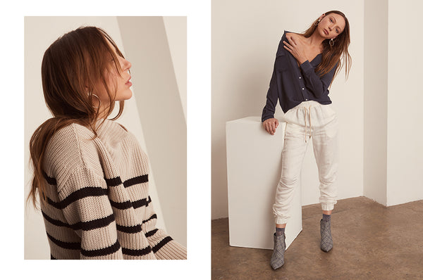 Cove Striped Turtleneck, Dune Silk Shirt and the Field Pants - POL Clothing AW19