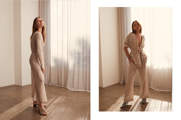 Atrium Knit Dress, Grid Tie Jacket and Pants - POL Clothing AW19