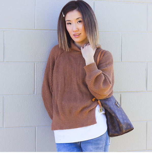 Jasmin wears the Cove Layered Knit