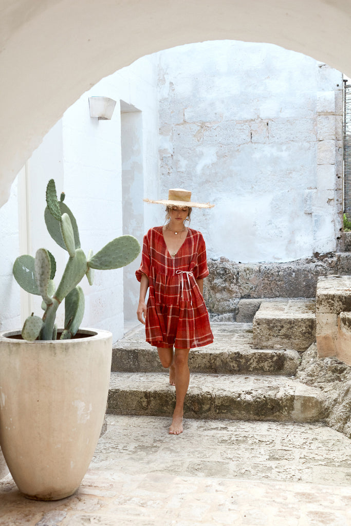 Izi wears the La Palma Wrap Dress