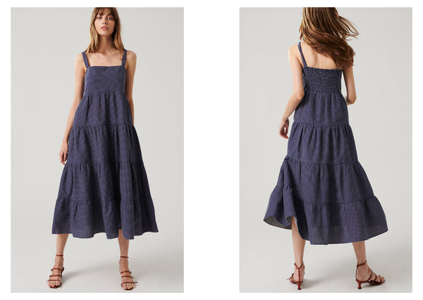 Anna wears the Harlow Tiered Maxi. Available online and instore from end September.