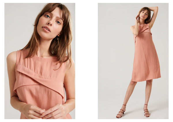 Anna wears the Anke Dress in Melon.