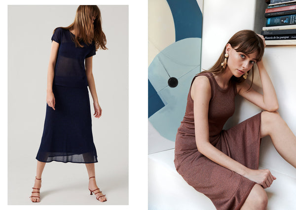 Anna wears the Curator Lurex Tee and Skirt in Navy (L) and the Curator Lurex Tank and Skirt in Copper (R).
