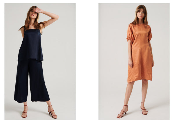 Anna wears the Gala Cami And Gala Button Pant in Navy (L) and the Gala Dress in Clay (R).
