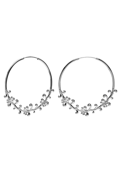 California Intricate Silver Hoop Earrings