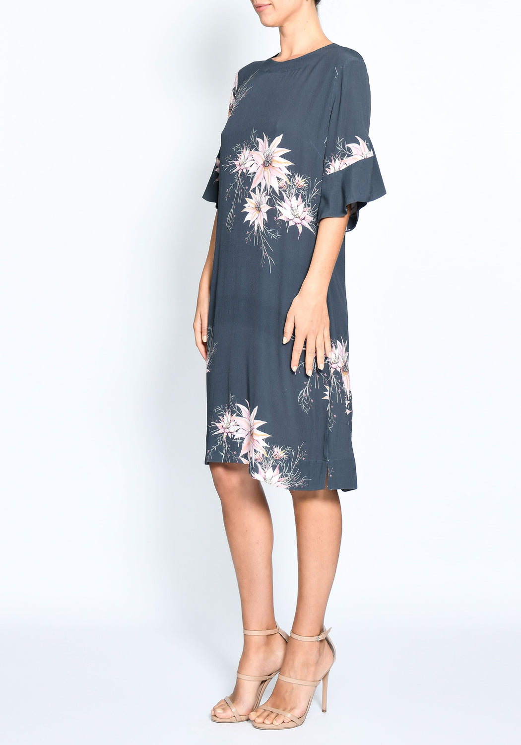 Desert Flower Ruffle Shift Dress