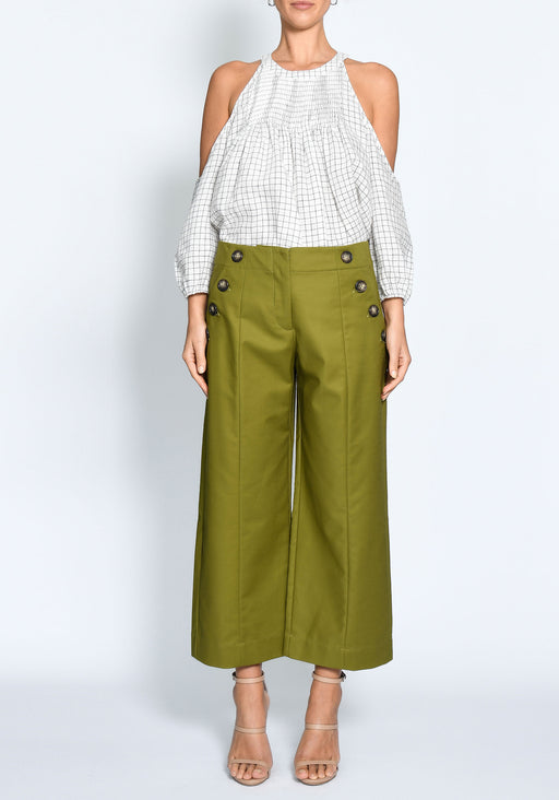 Wide Leg Cotton Button Pant