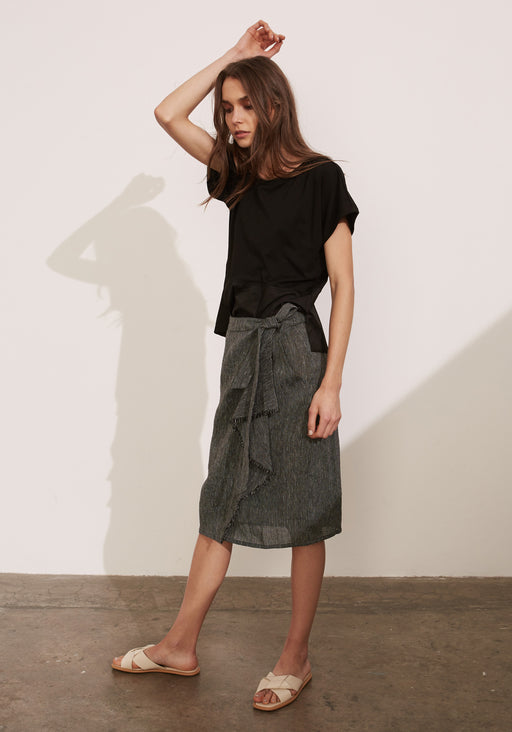Etched Linen Wrap Skirt
