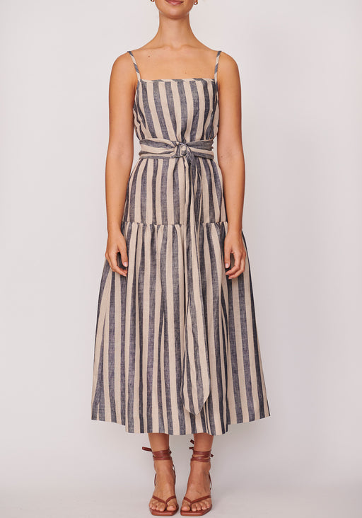 Band Belted Midi Dress