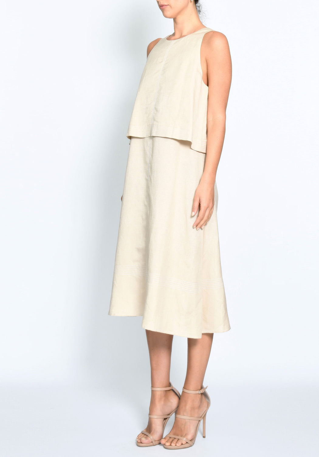 Terra Topstitch Double Layer Dress