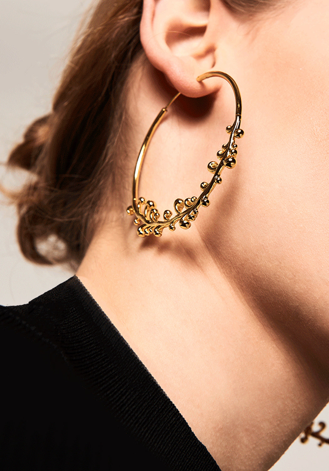 California Intricate Gold Hoop Earrings