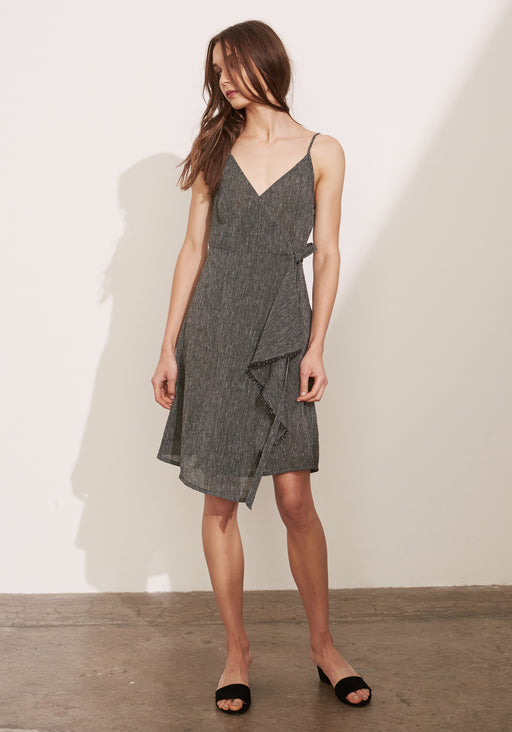 Etched Linen Wrap Dress