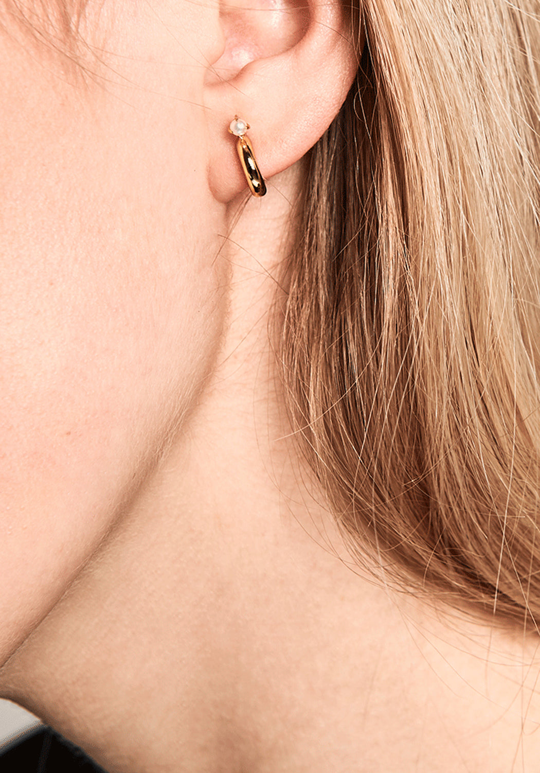Anne Gold Mini Pearl Hoop Earrings