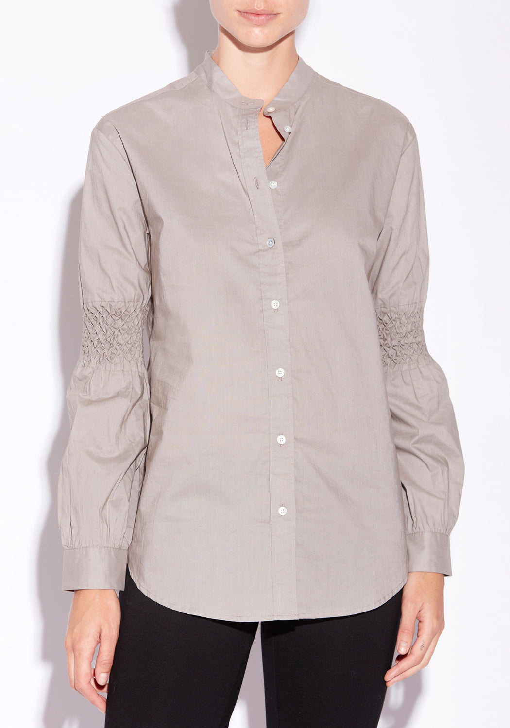 Quartz Smocked Shirt  - SILVER