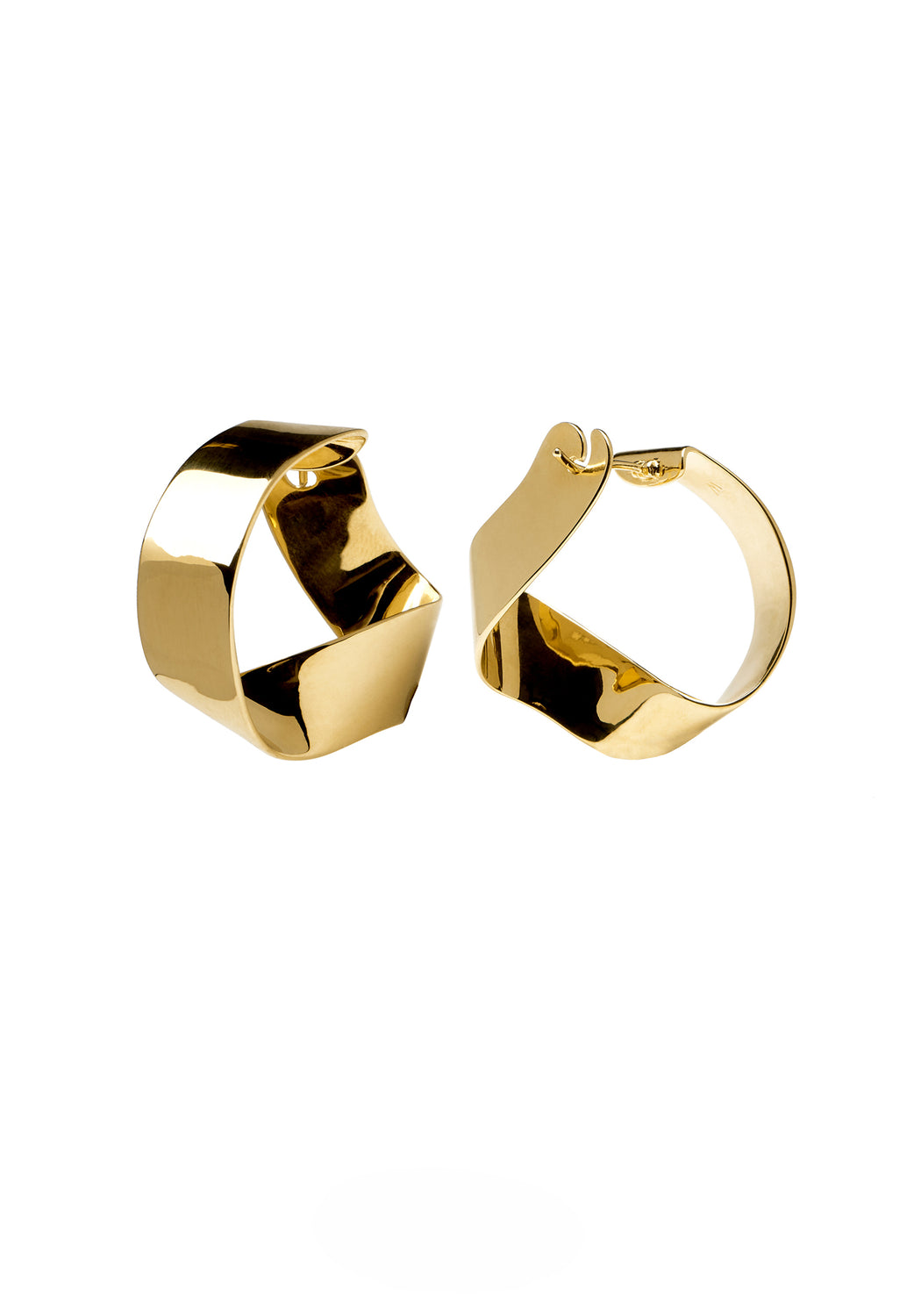 Gravity Gold Twisted Hoop Earrings
