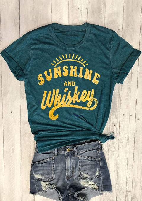 Short Sleeve Dark Green top tee Sunshine And Whiskey Print Casual Female tops Tee