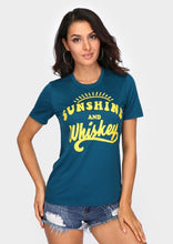 New Women t shirt Short Sleeve Dark Green tops tee Sunshine And Whiskey Print O-Neck T-Shirt 2018 Summer Casual Female tops Tee