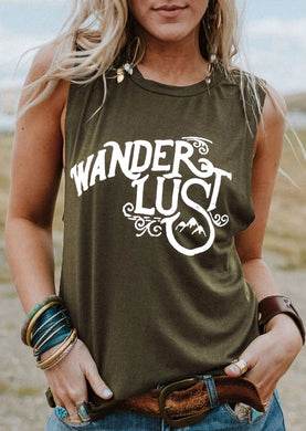 Sleeveless tops tee Wanderlust Letter Print O-Neck Tank Female Army Green Tank Ladies Tops Tee