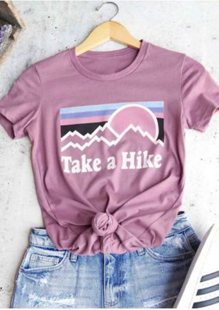 New Take A Hike Letter Printed Women T-Shirt Fashion O Neck Short Sleeve Top Tee Pink/Wine Red Girl Casual Tops T Shirt