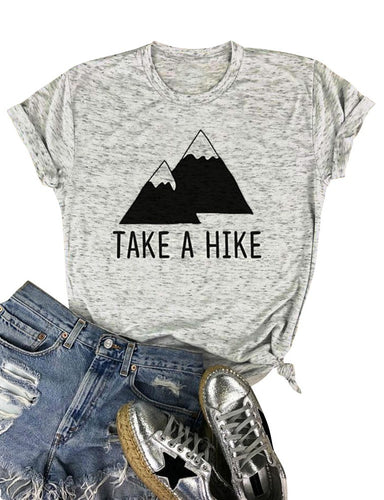 Women's short sleeve grey and black take a hike hiking tshirt