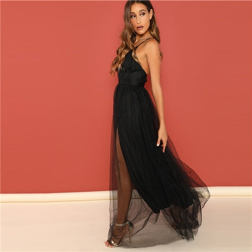 Black Night Out Plunging Neck Deep V Neck Crisscross Back Cami Sleeveless Backless Dress