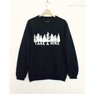 WS0092 Women's Black Casual Pullover Take A Hike Shirt Unisex Crew Neck Sweatshirt