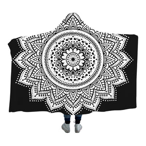 Boho Mandala Hooded Blanket for Adults Floral Sherpa Fleece Lotus Wearable Throw Blanket Microfiber