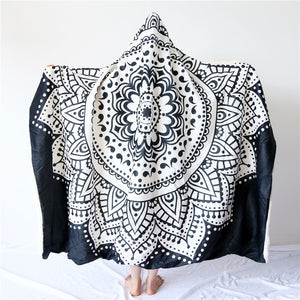 Boho Mandala Hooded Blanket for Adults Floral Sherpa Fleece Microfiber Blanket
