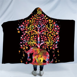 Colorful Bohemian Hooded Blanket Indian Elephant Sherpa Fleece Wearable Throw Blanket Black White Exotic for Sofa