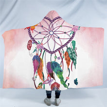 Heart Dreamcatcher Hooded Blanket Watercolor Sherpa Fleece Wearable Throw Blanket for Adult Kids Pink Blue Bedding