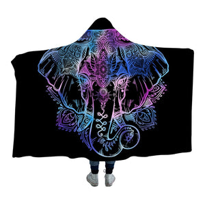 Bohemian Elephant Hooded Blanket for Adults Sherpa Fleece Lotus Flower Wearable Picnic Bed Throw Blanket 150x200cm