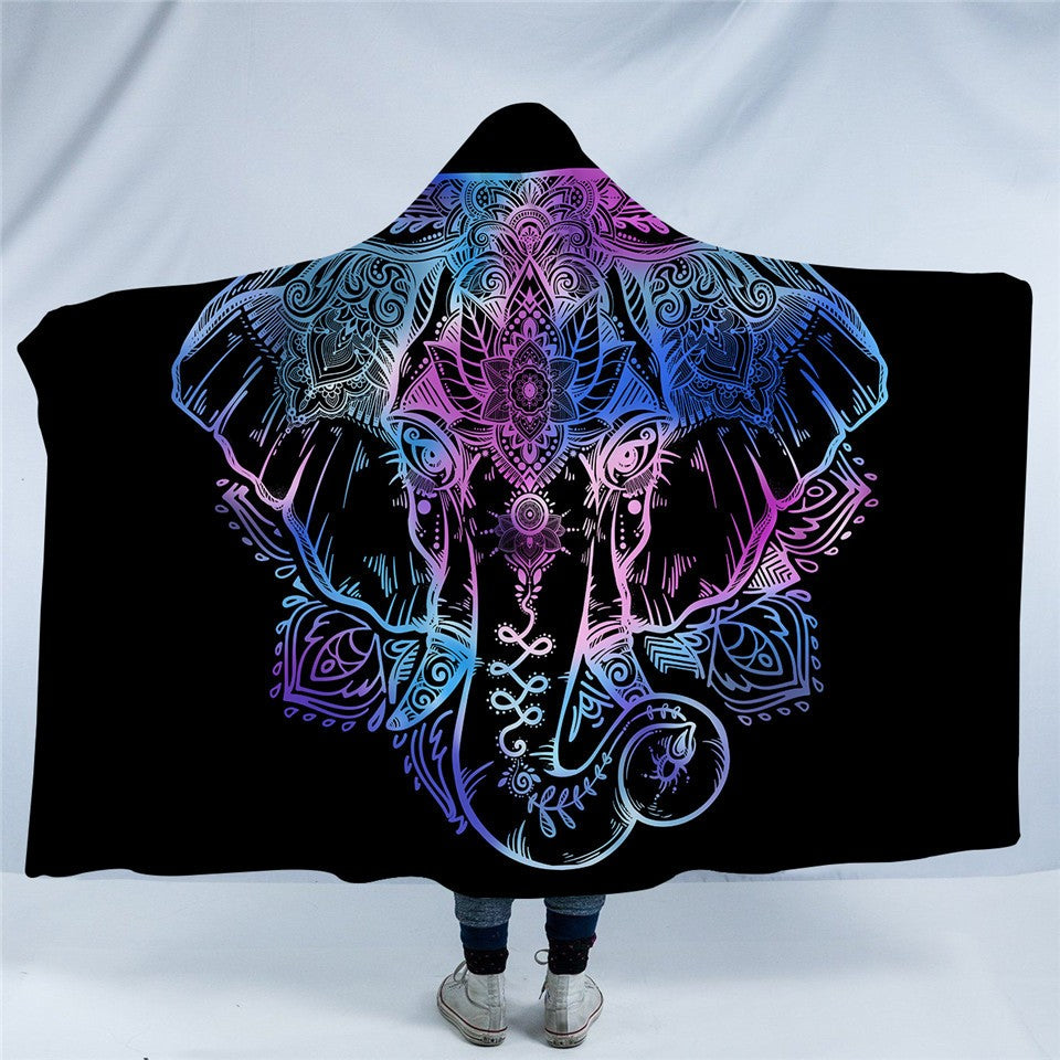 Bohemian Elephant Hooded Blanket for Adults Sherpa Fleece Lotus Flower Wearable Blanket 150x200cm